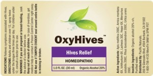 OxyHives label displaying all of the products active ingredients